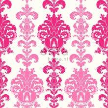 wallpaper baroque print pink - 115730