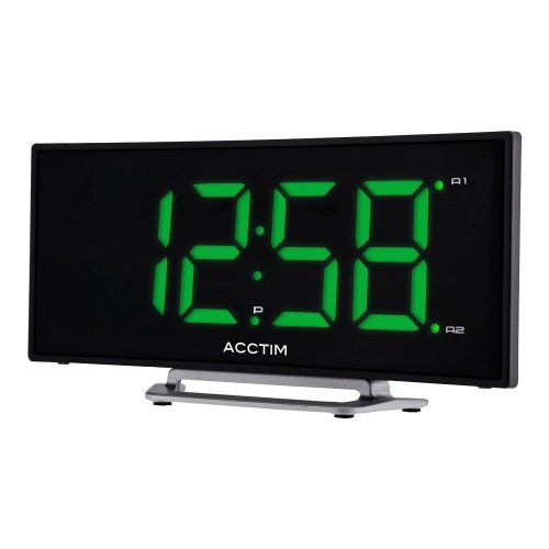 Sierra Curved Dual Alarm Clock | Green LED Digital Clock