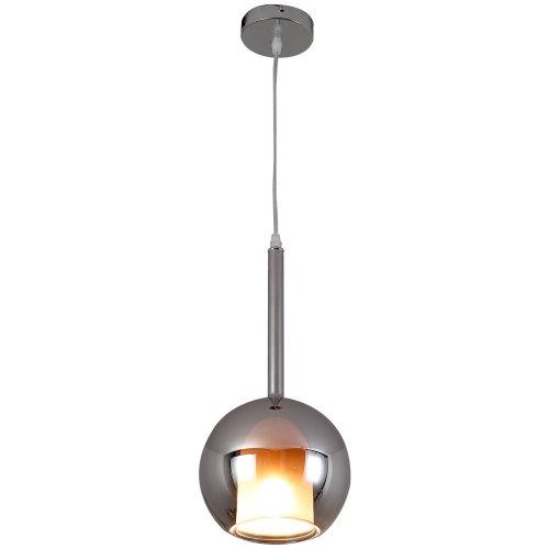 HOMCOM Glass Modern Pendant Lamp Droplight Ceiling Light Home Round Shade Metal Finish Silver