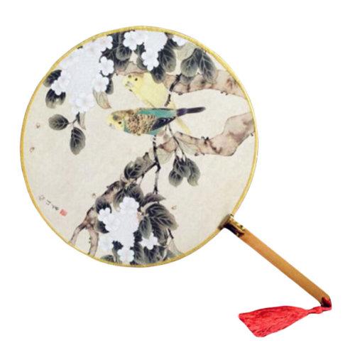 2PCS Beautiful Bamboo Handle Round Hand Fan Fabric Fan Print Decor-Bird