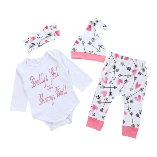 4pcs Baby girls set baby\'s set Newborn Infant Baby Girl Clothes Letter Romper Top+Pants+Hat Outfits Clothes Set drop shipping