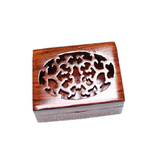Chinese Style Wood Hollow Business Card Holder Portable Card Case(4*2.75*1.3'')