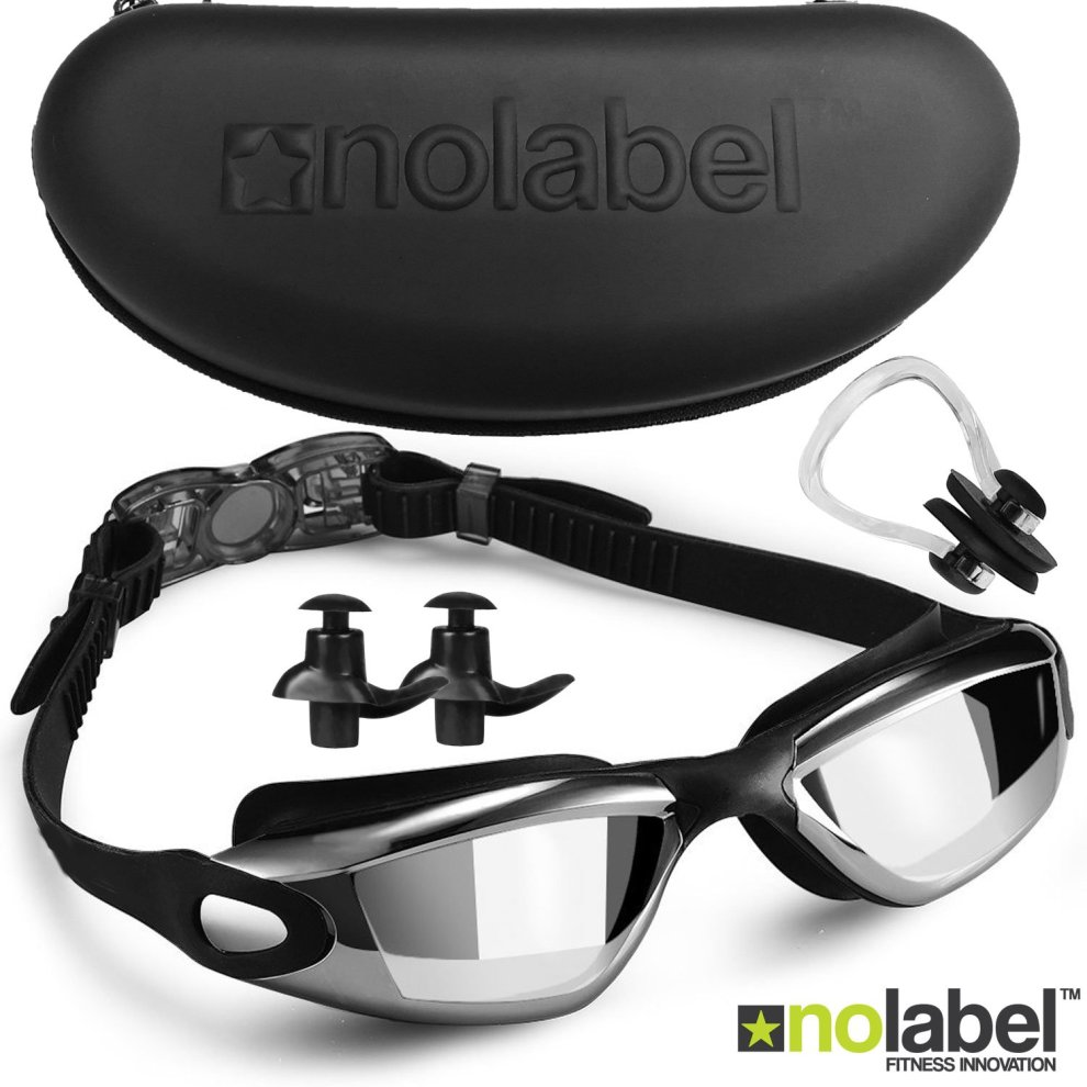1853de4b764 NO LABEL Black Swimming Goggles - Anti Fog Swim Goggles With UV Protection  - Easy Clip Swimming Goggle System - Mens Goggles   Womens Goggles (Black)  on ...