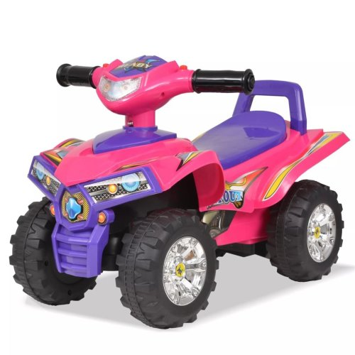 vidaXL Children's Ride-on ATV with Sound and Light Pink and Purple Car Vehicle