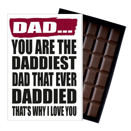 Funny Fathers Day Gift for Dad or Daddy Chocolate Birthday Present for Daddies