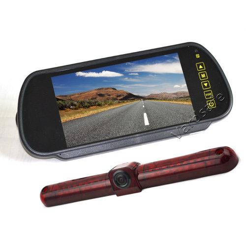 Vardsafe Universal Brake Light Parking Reverse Backup Camera + 7 Inch Clip-on Mirror Monitor for RV / Cargo Van / Bus