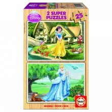 Jigsaw Puzzle - 2 x 25 Wooden Pieces - Disney Princesses : Snow-White and Cinderella