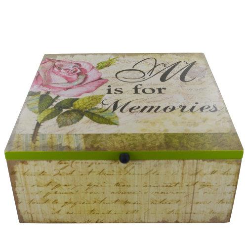 Memory Box Keepsake Chest M is For Memories Pink Rose