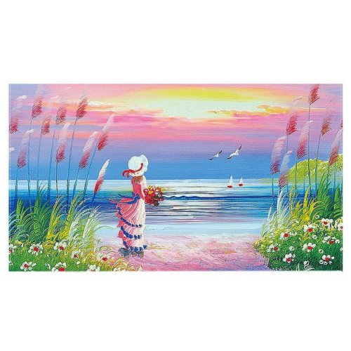 Home Creative 50-Inch TV Cloth Decorative Dustproof Cover, Girl By The Sea