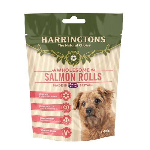 Harringtons Salmon Roll Treats 100g (Pack of 8)