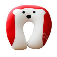 Lovely Animals U-Shape Pillow Healthy Neck Protector Neck Pillow Polar Bear Red