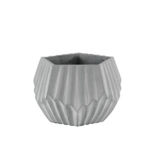 Cement Short Polygonal Pot with Ribbed Design Body & Tapered Bottom, Washed Concrete Finish - Gray