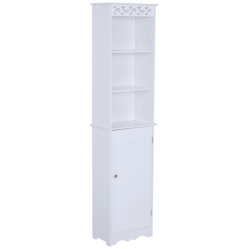 HOMCOM Tall Bathroom Cabinet Longline Narrow Storage Unit Tower Cupboard Home Furniture Organiser w/ Adjustable Shelves    MDF White