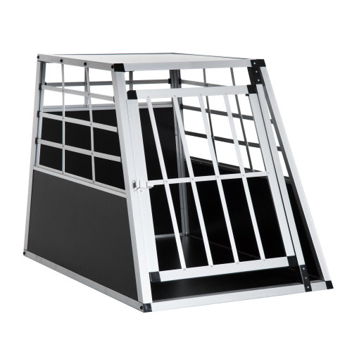 PawHu Aluminium Dog Cage Crate Kennel Pet Carrier Cat Transport House Animal Training Box (91L x 65W x 69H cm)