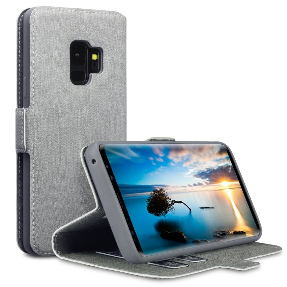 online store 31e66 71980 TERRAPIN Samsung S9 Case Samsung Galaxy S9 Leather Case Wallet Flip Cover -  Ultra Slim Fit - Viewing Stand - Card Slots - Grey