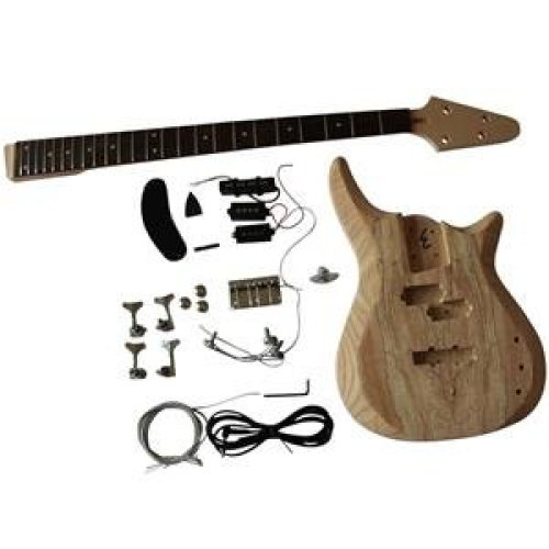 Bass Guitar DIY Kit with 2 Part Ash Wood Body With Spalted Maple Veneer GD901 4 Strings  Top Luthier DIY Kit.