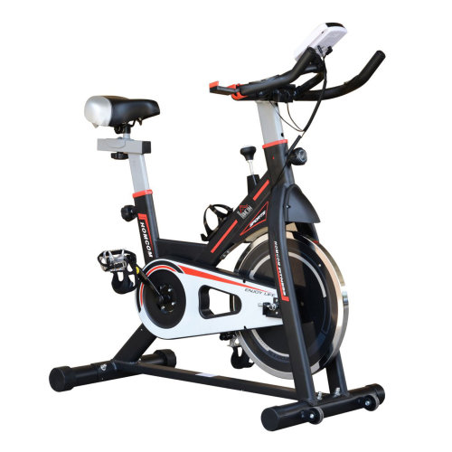 HOMCOM 8kg Spinning Flywheel Spin Exercise Bike Racing Bicycle Home Fitness Trainer with LCD Display Adjustable Resistance Black