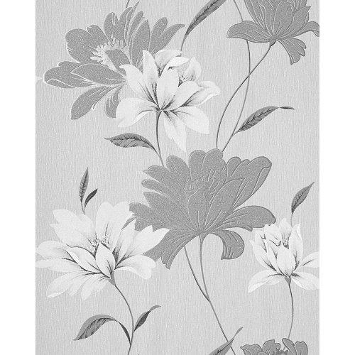EDEM 168-36 vinyl wallpaper floral design flowers grey white silver | 5.33 sqm