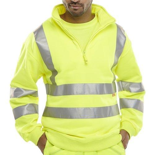 Click BSZSSENSYXXL Hi Vis Yellow Zipped Sweatshirt EN471 XXL