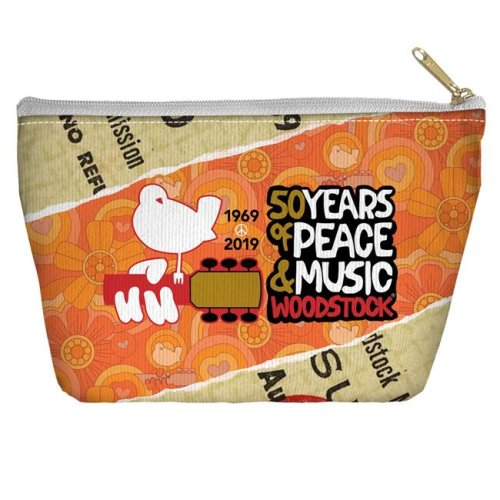 Trevco Sportswear WOOD152-PCH2-12.5x8.5 Woodstock & 50 Year Ticket Accessory Pouch, White - 12.5 x 8.5 in.