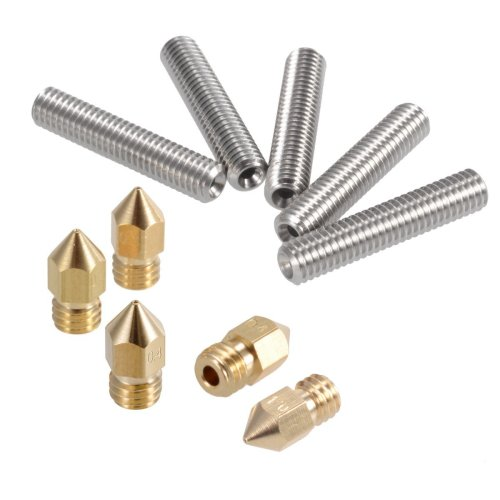 PChero 5pcs 30MM Length Extruder 1.75mm Tube and 5pcs 0.4mm Brass Extruder Nozzle Print Heads for MK8 Makerbot Reprap 3D Printers