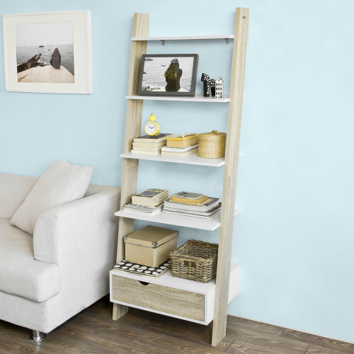 SoBuy FRG112-WN 5-Tier Ladder Shelf | 2-Tone Ladder Storage Unit