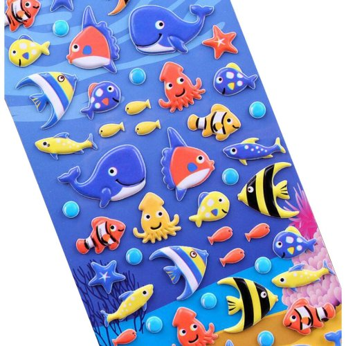 [Aquatic creatures]5 Sheets Funny Cartoon Stickers Children Decorative Toys