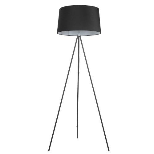 HOMCOM Standing Floor Lamp Bedside Light Metal Linen Shade Free Standing Black