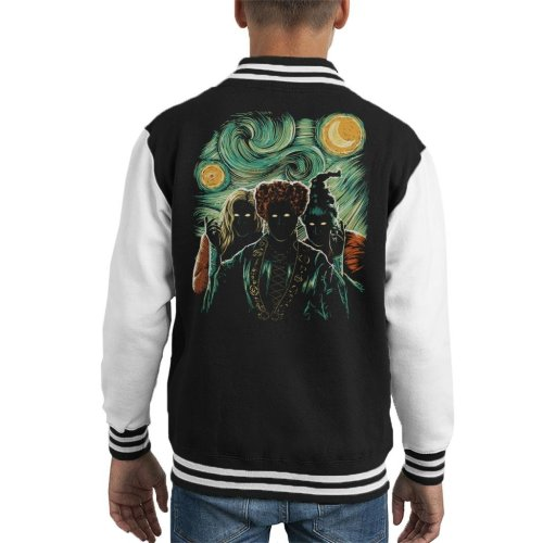 Salem Night Hocus Pocus Van Gogh Starry Night Kid's Varsity Jacket