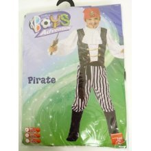 Pirate Costume, Black & White, Shirt, Trousers, Boot Covers, Headscarf, Belt -  pirate costume fancy dress boys smiffys kids outfit childrens book