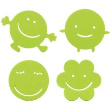 Set Of 4 Lovely Smile Pattern Pot Holders Insulation Mats Coffee Pads