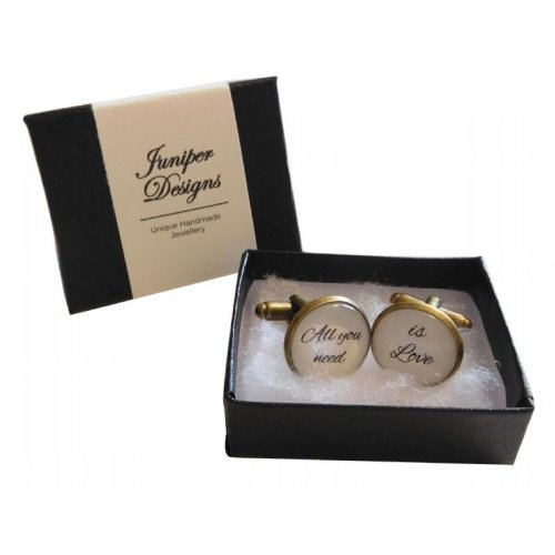 Handcrafted 'All You Need Is Love'  Cufflinks | Valentine's Day Gift Cufflinks