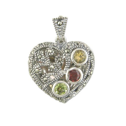 Sterling Silver Marcasite Multi Stone Heart Locket On A Snake Necklace