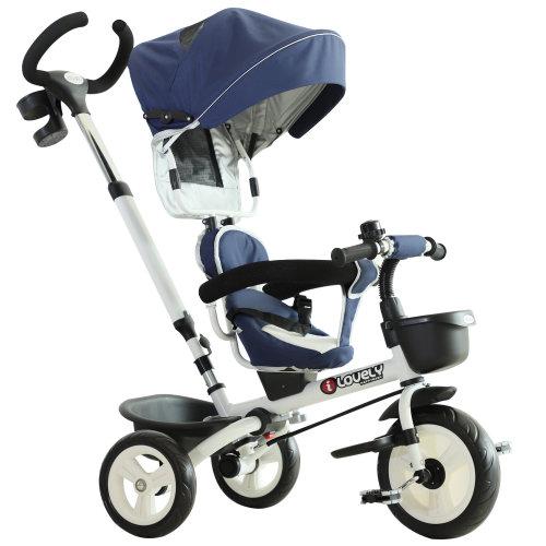 HOMCOM 4-in-1 Baby Tricycle Stroller Kids Folding Trike Detachable w/ Canopy - Blue