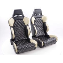 Sportseat Set Las Vegas artificial leather black/beige seam beige