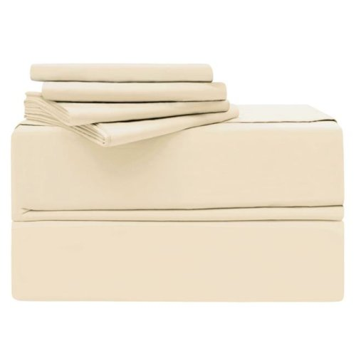 Simply the Best YMS008195 Luxury 620 Thread Count 100 Percent Cotton Sheet Set, Ivory - Queen - 6 Piece