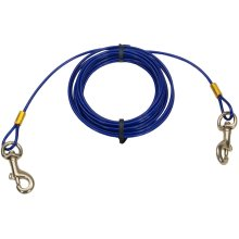 Titan 15' Dog Tie Out Cable W/Brass Plated Snaps-Blue