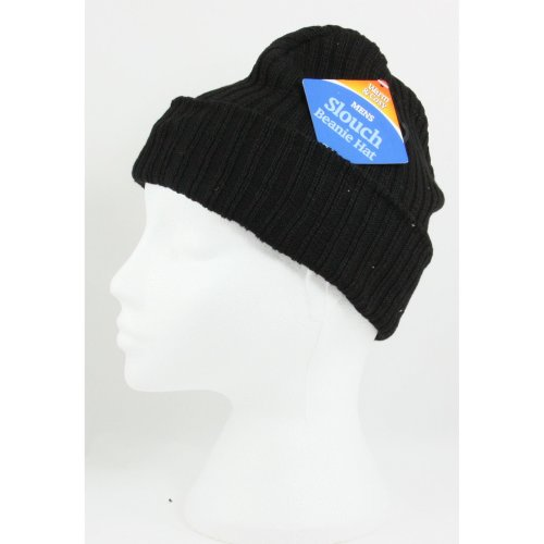 d6b517c762e Mens Womens Black Slouch Beanie Ribbed Hat One Size Unisex