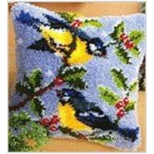 """Latch Hook Complete Cushion Cover Kit""""Two Birds on Branch"""" 43x43cm"""
