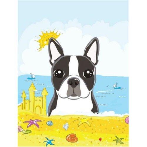 Carolines Treasures BB2071CHF Boston Terrier Summer Beach Canvas House Flag