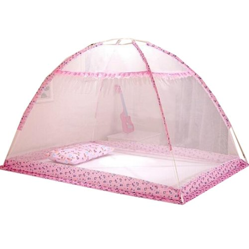 Foldable Insect Netting for Cribs Bottomless Baby Mosquito Nets (Pink)