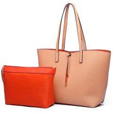 (Nude 6628) Miss Lulu Faux Leather Shoulder Handbag