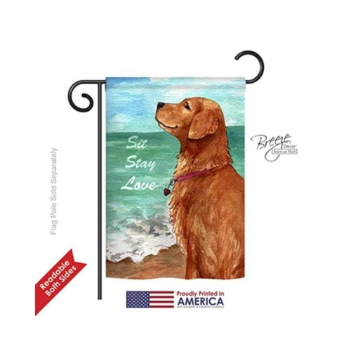 Breeze Decor 60084 Pets Golden Stay Love 2-Sided Impression Garden Flag - 13 x 18.5 in.