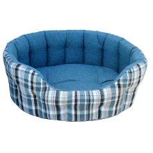 Premium Heavy Duty Antibacterial Oval Drop Front Softee Bed Plaid Design Aqua Size 5 76x64x24cm