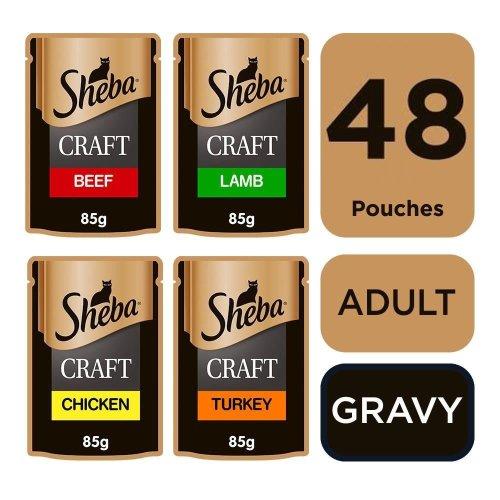 SHEBA Craft Cat Pouches Succulent Selection in Gravy 12x85g (Pack Of 4)