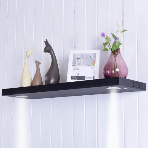 Rechargeable LED Floating Wall Shelf illuminated Wooden Display Storage UK