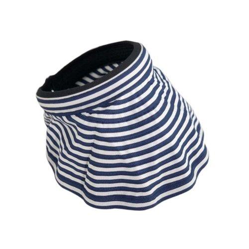 Womens Empty Top Visor Hat Packable Wide Brim Sun Protection Hat, Blue Stripes