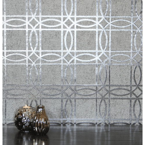 Arthouse Geometric Trellis Metallic Geo Square Foil Non-Woven Flat Surface Wallpaper 903204