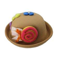 Cute Baby Woolen Bowler Hat Children Bucket Hat Candy Khaki