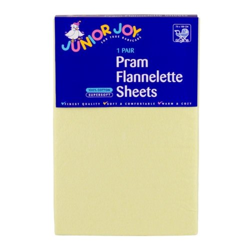 2 x Junior Joy Baby Pram Flannelette Sheets 100% Soft Cotton Pack - Lemon